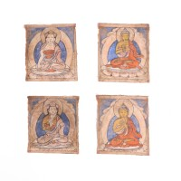 Lot of four Tibetan initiation cards (tsakli)