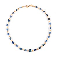 ISA B // Necklace in blue striped glass Beads