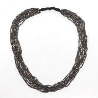 Multi strand Dogon Necklace in opaque grey glass Beads