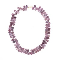 Necklace in drop shaped opaque glass beads