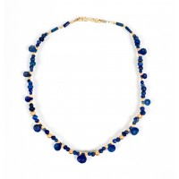 ISA B // Bactrian spoon beads necklace in lapis lazuli