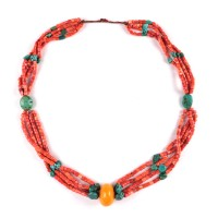 Multi strand Tibetan coral and turquoise Necklace