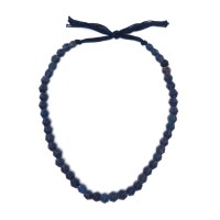 Excavated Necklace of semi opaque blue glass Beads