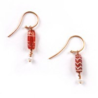 Pair of Earrings in etched carnelian Beads
