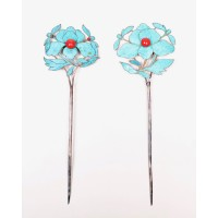 Pair of Chinese kingfisher feather hairpins