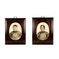 Chinese pair of ancestral portraits