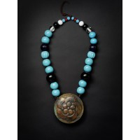 Rare Ainu glass beads and copper plate necklace