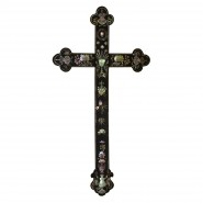 Vietnamese rosewood and inlaid mother of pearl cross