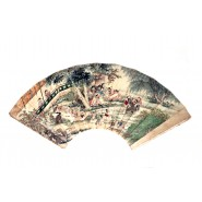 Chinese hand painted garden scene on paper fan panel
