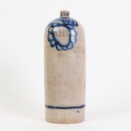Stoneware jug with blue cobalt AHV initials and decorations