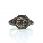 Merovingian bronze ring with porcupines