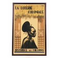 """Poster of the Belgian """"Colonial Lottery"""" with a portrait of a Mangbetu woman"""