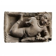 Gupta terracotta Tile depicting Vidyadhara in Floating Position