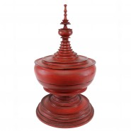 Burmese lacquerd 'Hsun-ok' Pagode shaped Offering Vessel