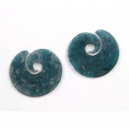 Pair of excavated semi opaque blue glass Earrings
