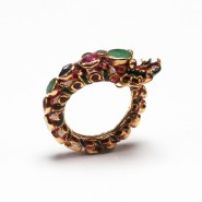 Gold 'Snake' Ring inset with rubies and emeralds