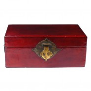 Antique lacquered leather Chinese document box