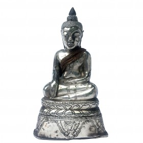 Thai miniature silver seated Buddha image