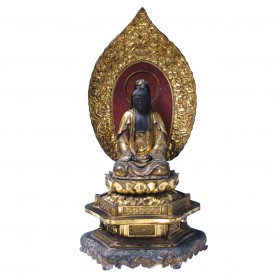 Antique Japanese gilt wood image of Kannon, the Bodhisattva of Compassion