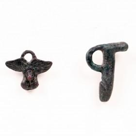 Set of 2 bronze phallic pendants