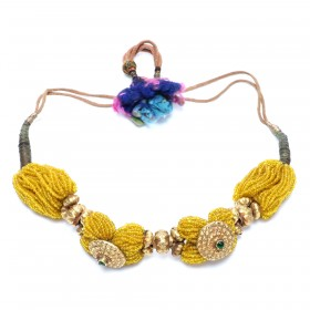 Glass beads and gold necklace from India