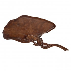 Japanese carved-wood lotus leaf tray