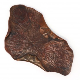 Japanese carved-wood leaf tray