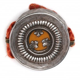Tibetan Buddhist Gau or Prayer Box in repoussé silver