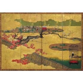 Japanese 4-panel Edo screen