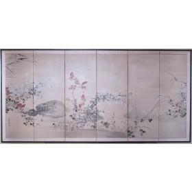 Japanese Rimpa-style 6-panel screen