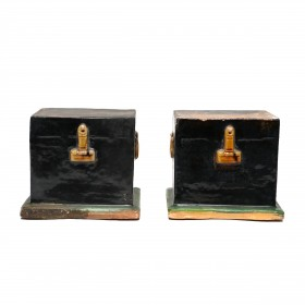 A pair 'mingqi' scale model Coffers
