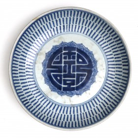Qing blue and white Plate