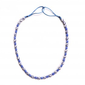 Necklace of blue and white Venetian glass beads