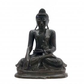 Burmese bronze seated buddha sculpture