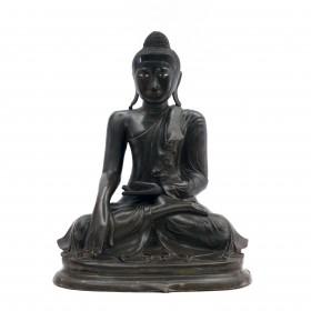 Burmese bronze seated buddha sculpture