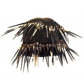 Cameroon headdress in fibers and porcupine spikes