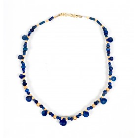 Bactrian spoon beads necklace in lapis lazuli