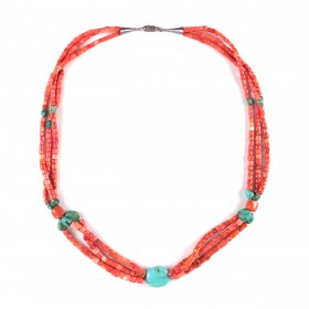 Triple strand Tibetan coral and turquoise Necklace