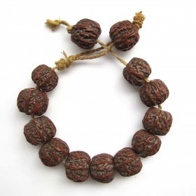 Chinese engraved and sculpted Nut Beads