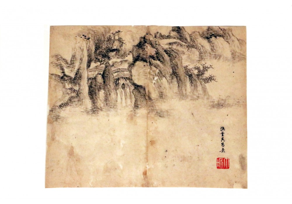 Don Qichang Style ink drawing landscape on paper