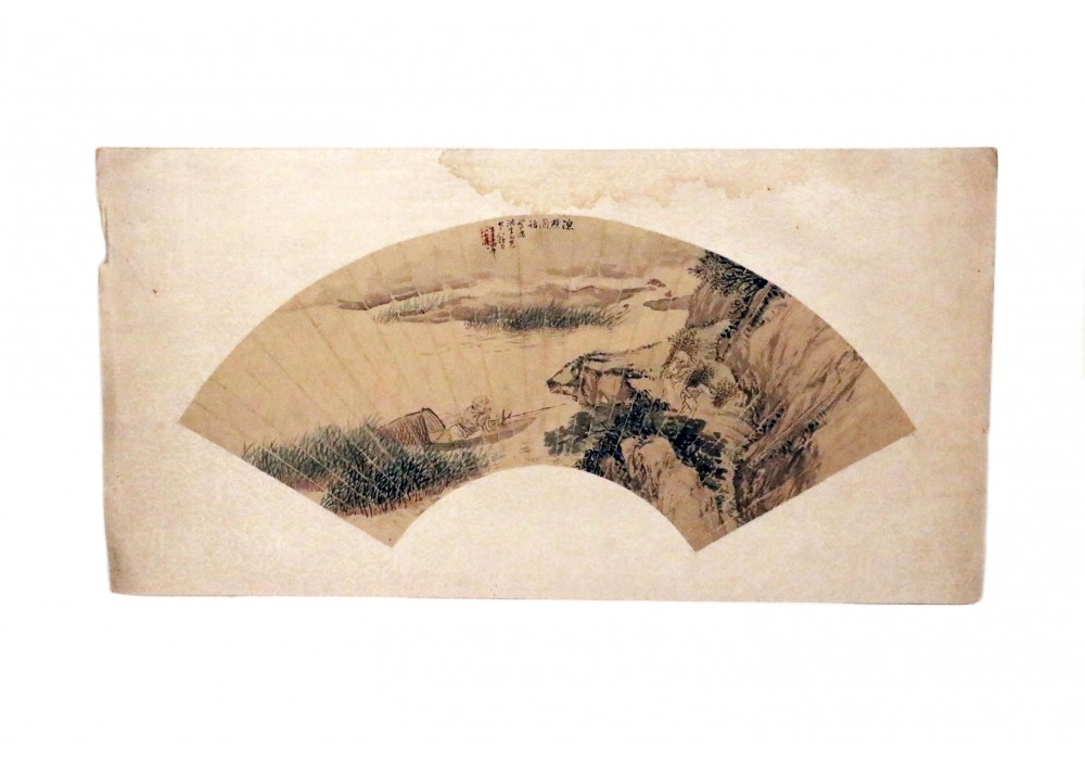 Chinese hand painted silk fan panel
