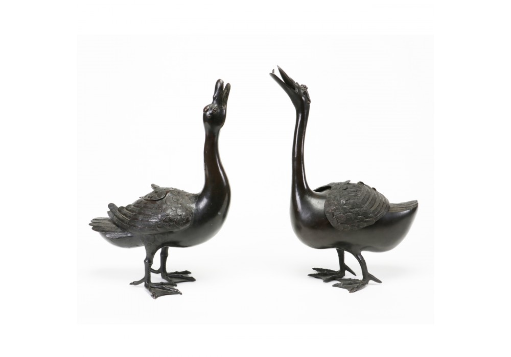 Pair of Chinese censers in duck shape