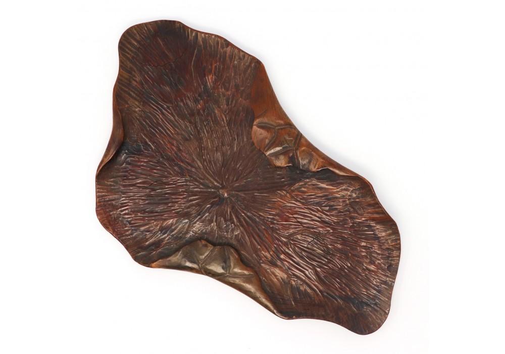 Japanese carved-wood leaf tray