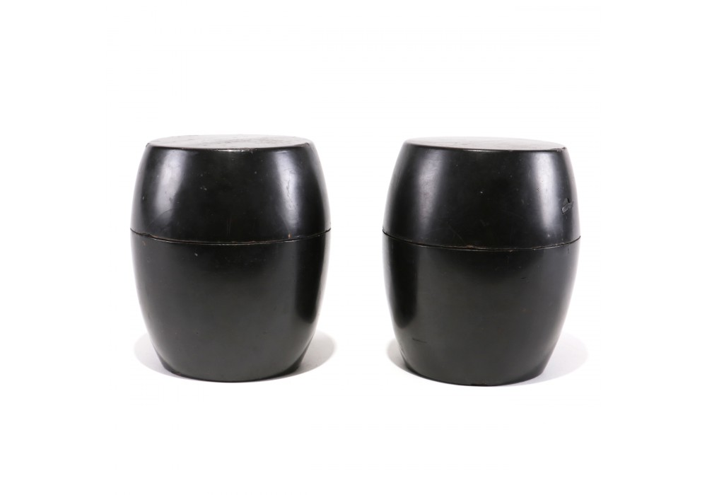Pair of Drum shaped Boxes in black lacquer