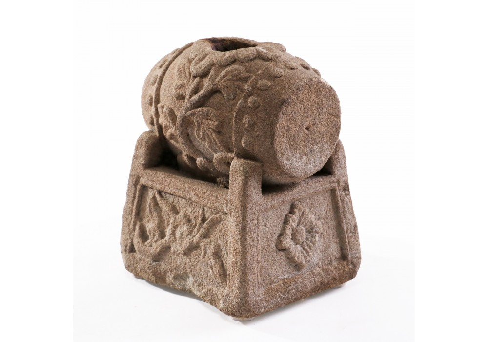 A stone Incense Burner in the shape of a drum