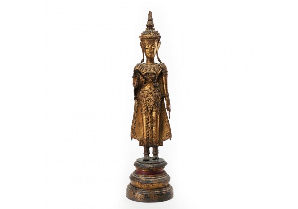 Figure du Bouddha Tha Ratakanosin en bronze doré