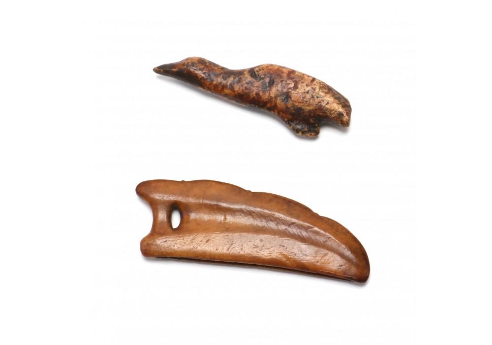 Bering Sea Eskimo Carved Walrus Ivory Amulet figure of a Walrus