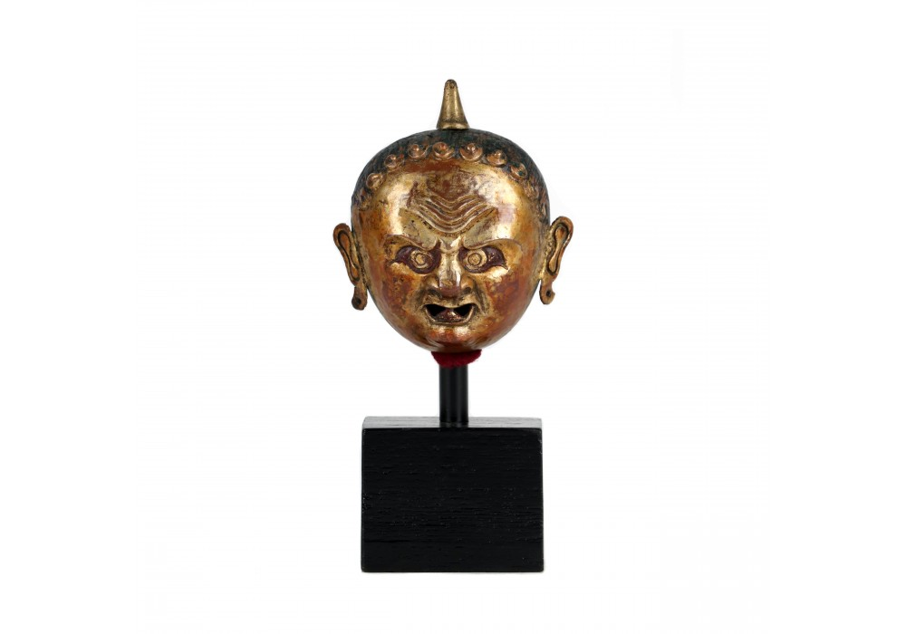 Tibetan repousse gilded copper head