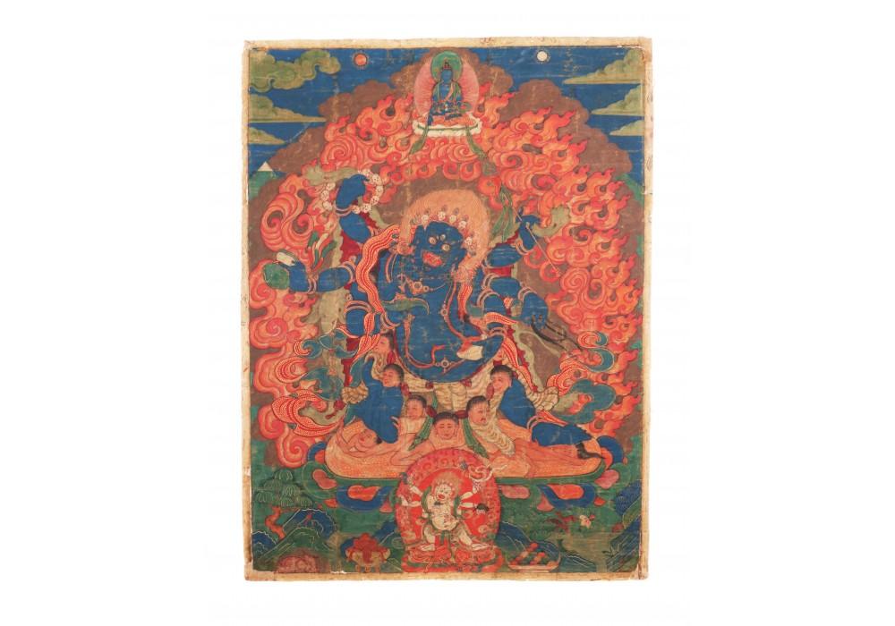 Tibetan painting depicting Mahakalla
