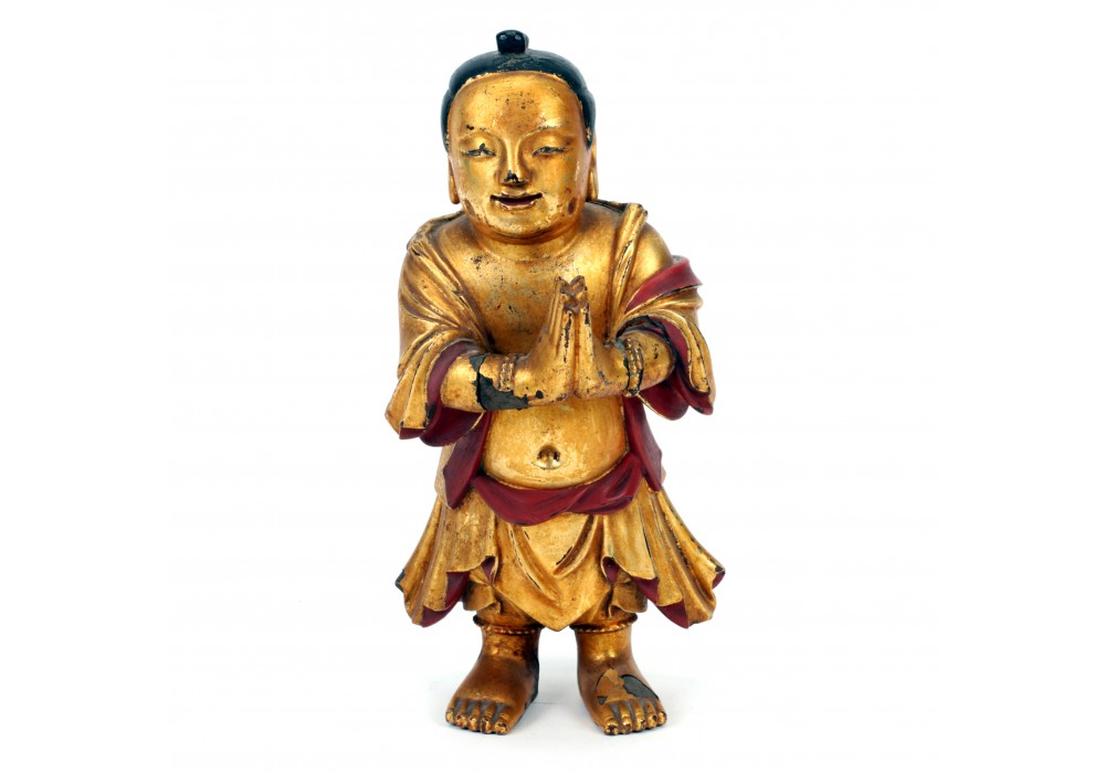 Gold lacquered wooden figurine
